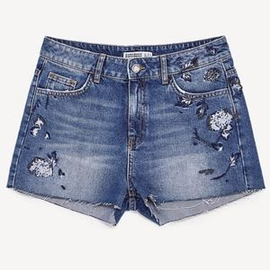 NWOTZara Embroidered and Beaded Denim Jean Shorts